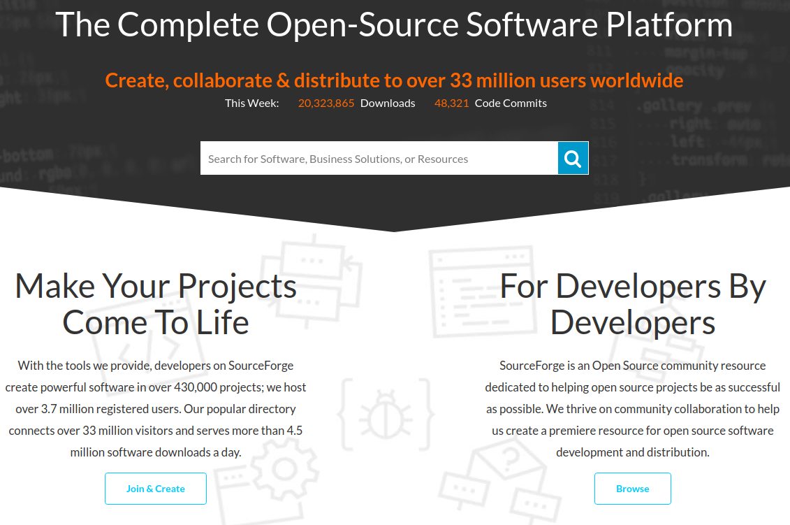 SourceForge screenshot
